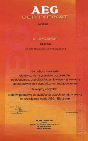 Certyfikat AEG