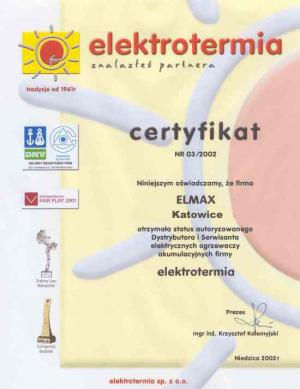 Certyfikat elektrotermia